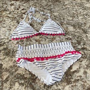 White and navy striped bikini
